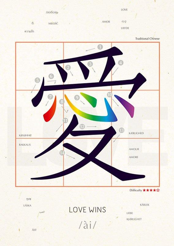 明信片 學中文 愛 LOVE WINS