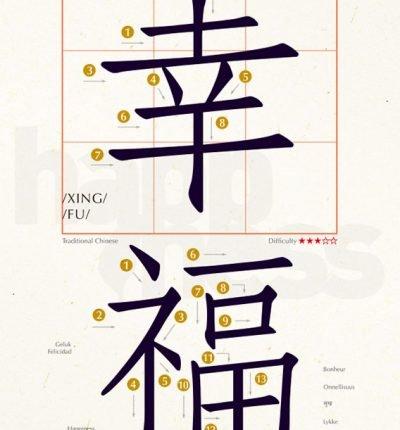 明信片 學中文 幸福