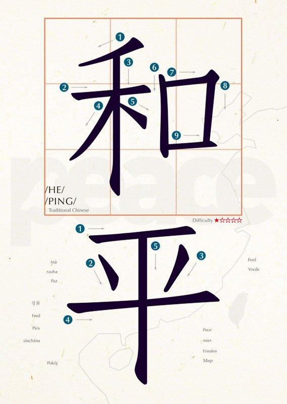 明信片 學中文 和平