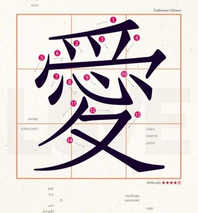 明信片 學中文 愛