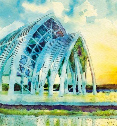 明信片 繪畫 臺南北門 水晶教堂