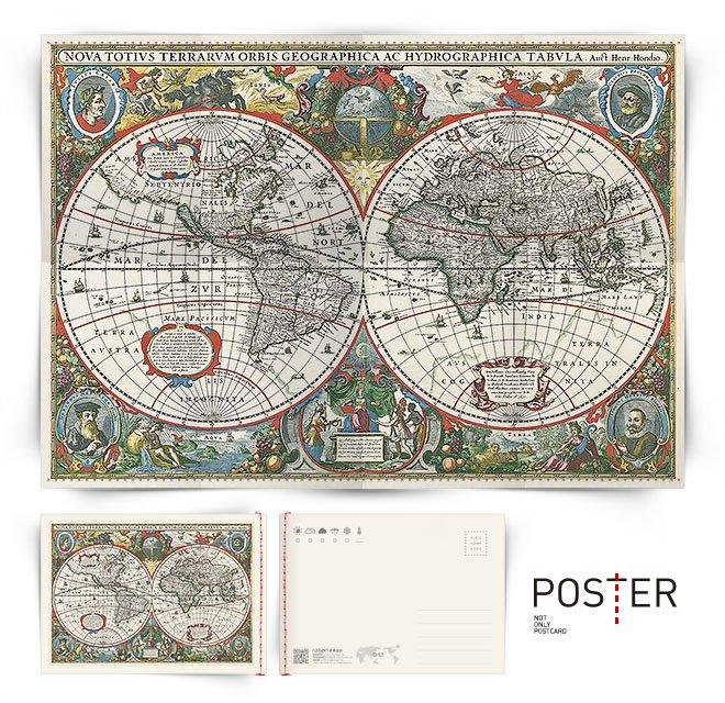 海報明信片 世界地圖 1630