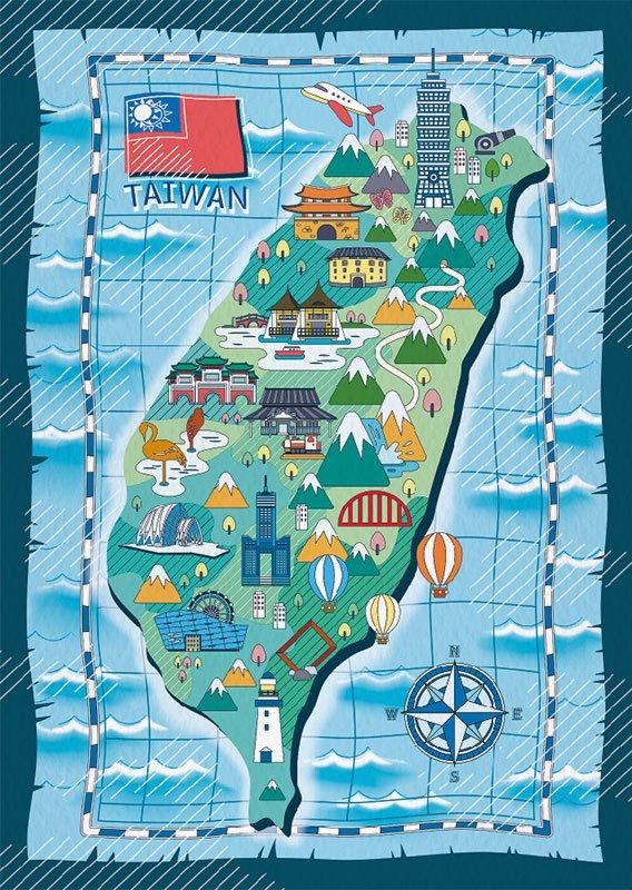 明信片 台灣地圖插畫 – 航海圖