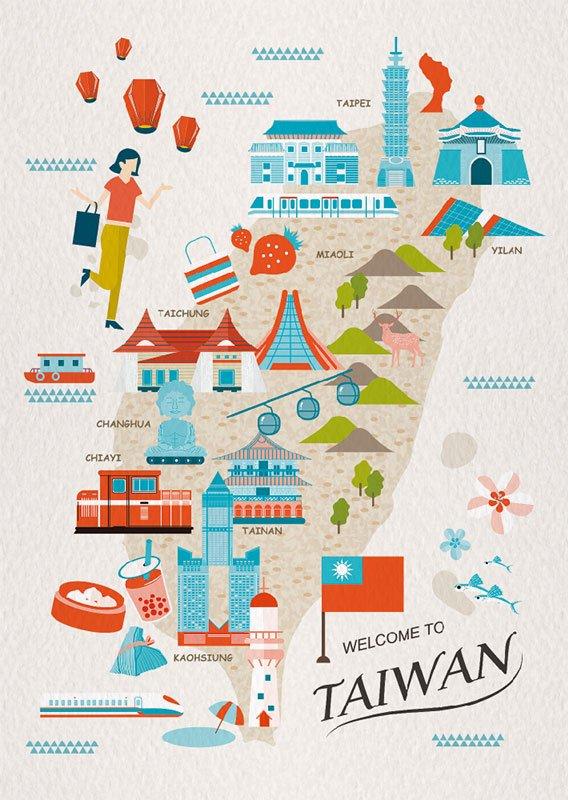 明信片 明信片 台灣地圖插畫 – 旅遊台灣 B