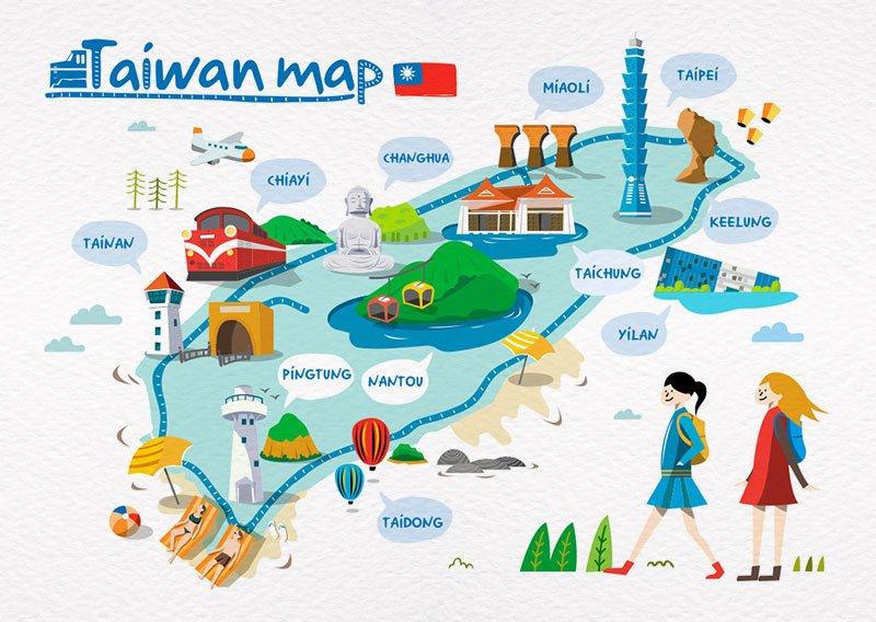 台灣地圖插畫明信片