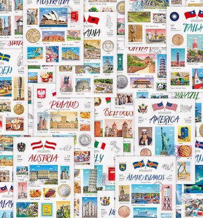 World Travel Set 世界旅行明信片全套
