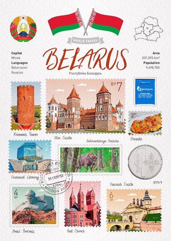 世界旅行 明信片 白俄羅斯 Belarus