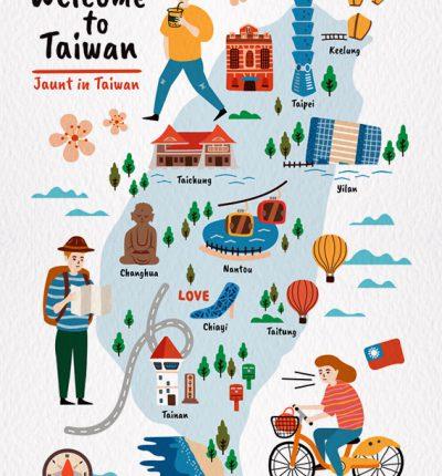 台灣明信片 台灣地圖插畫 – 旅遊台灣 E