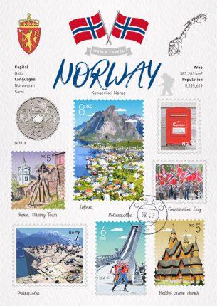 世界旅行 明信片 挪威 Norway