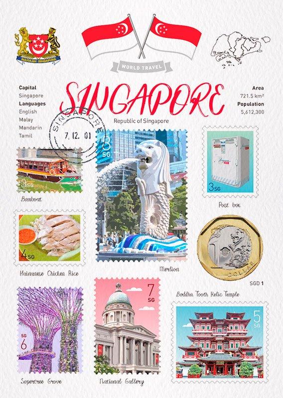 世界旅行 明信片 新加坡 Singapore